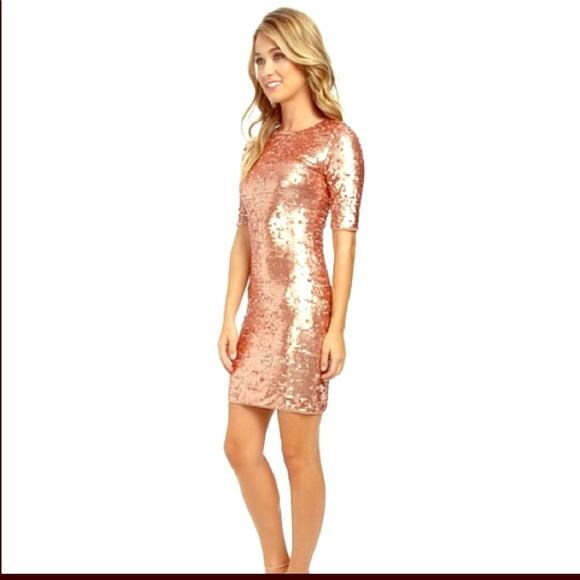 BCBGMaxAzria Dresses & Skirts   BCBG Bodycon Rose Gold Sequin ...